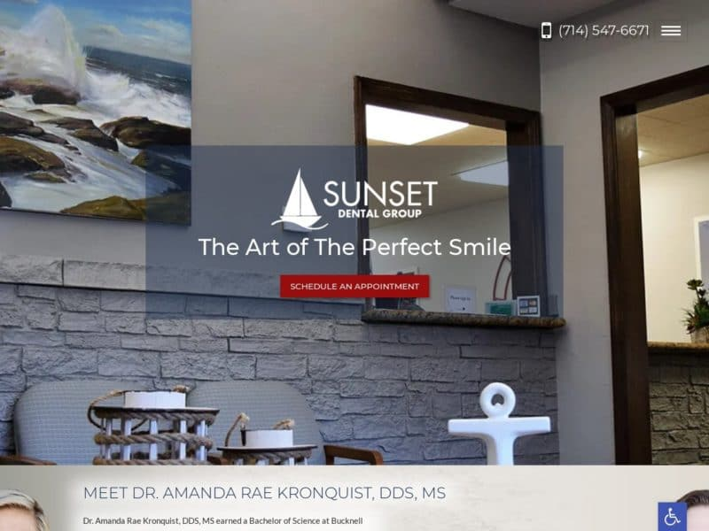 Sunset Dental Group Website Screenshot from url kronquistdental.com