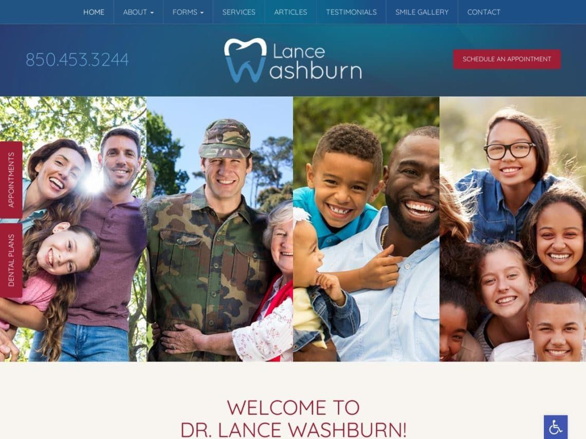Lance Washburn Dental Website Screenshot from url lancewashburndental.com