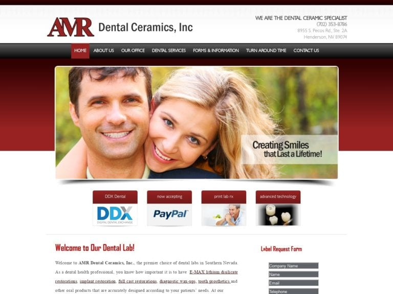 AMR Dental Ceramics Website Screenshot from url lasvegasdentallab.com