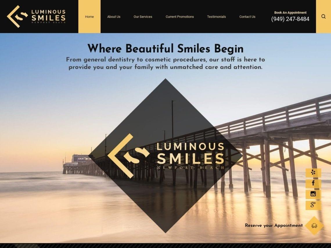 Luminous Smiles Website Screenshot from url luminoussmiles.com