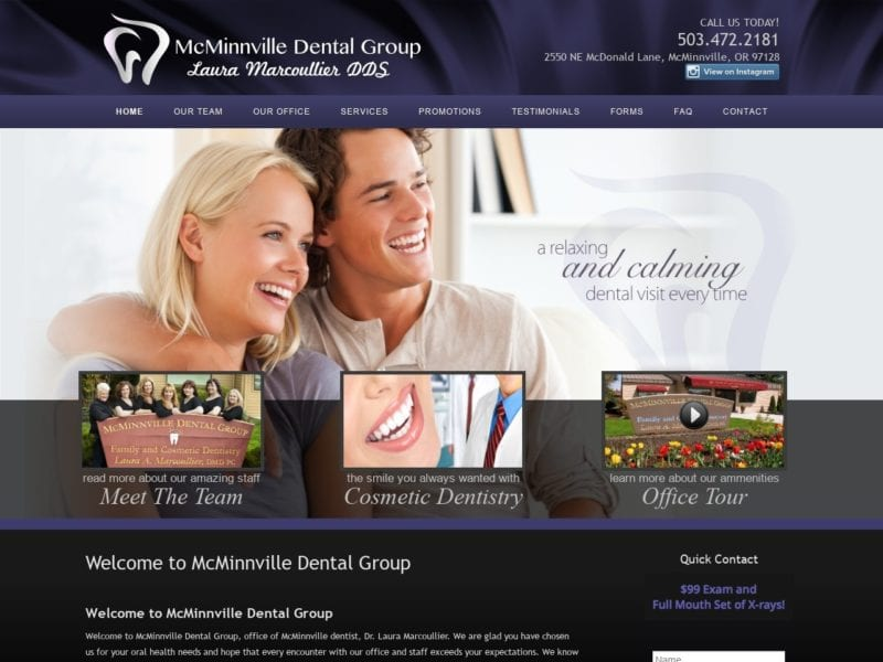 McMinnville Dental Group Website Screenshot from url mcminnvilledentalgroup.com
