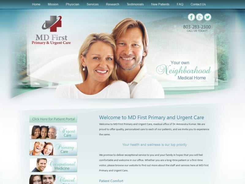 MD First Website Screenshot from url mdfirsthealthcare.com