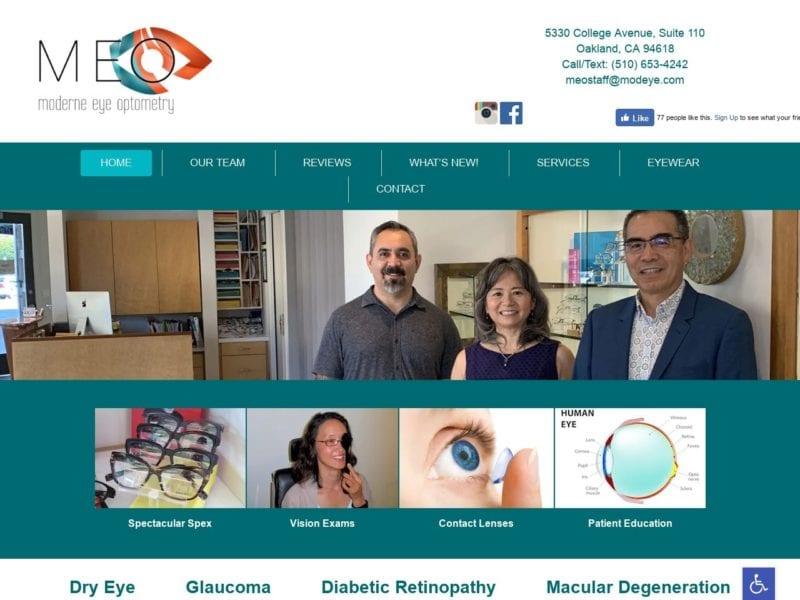 Modern Eye Optometry Website Screenshot from url modeye.com