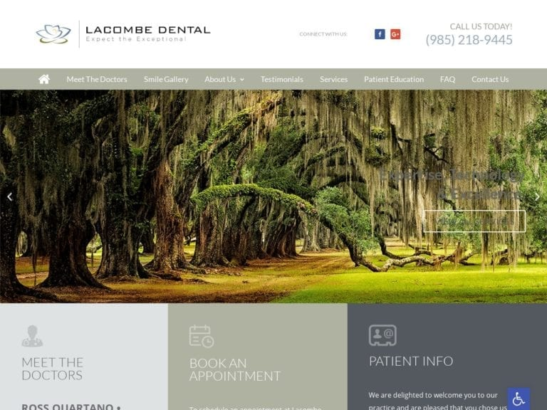 Lacombe Prosthodontics Website Screenshot from url mylacombedental.com