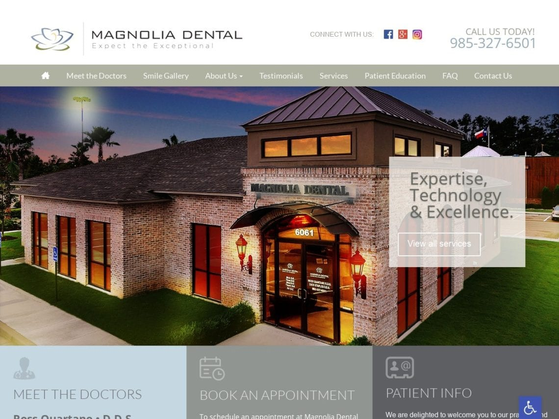 Magnolia Dental Website Screenshot from url mymagnoliadental.com