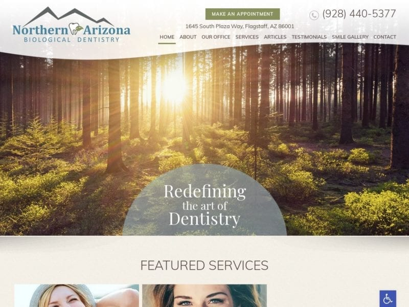 Northern Arizona Biological Dentistry Website Screenshot from url nabdentistry.com