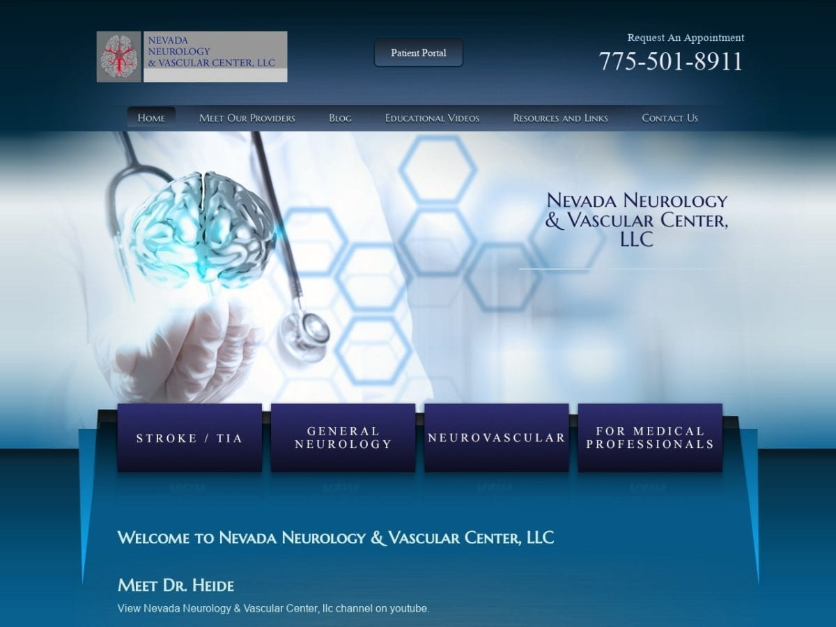Nevada Neurology Center Website Screenshot from url nevadaneuro.com