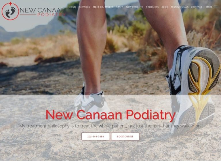 New Canaan Podiatry Website Screenshot from url newcanaanpodiatry.com