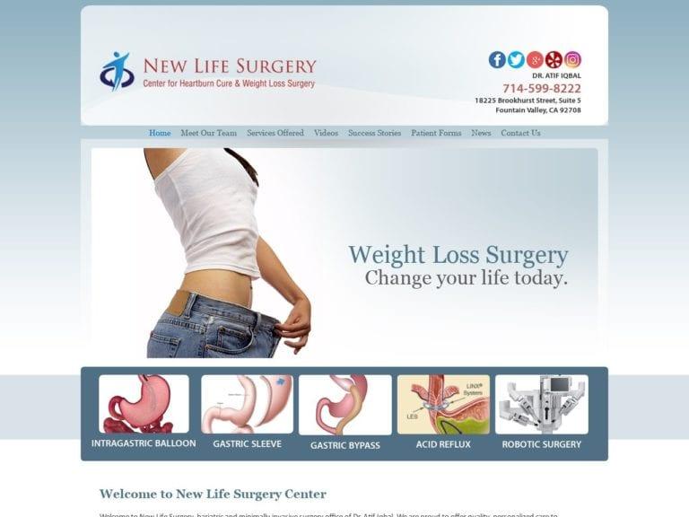 New Life Surgery Website Screenshot from url newlifesurgery.com