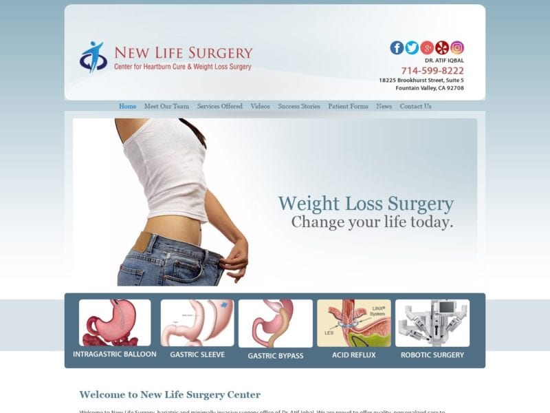 New Life Surgery Website Screenshot from url newlifesurgery.com