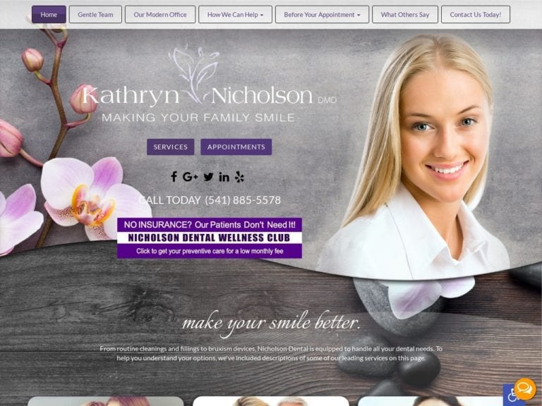 Nicholson Dental Website Screenshot from url nicholsondental.com