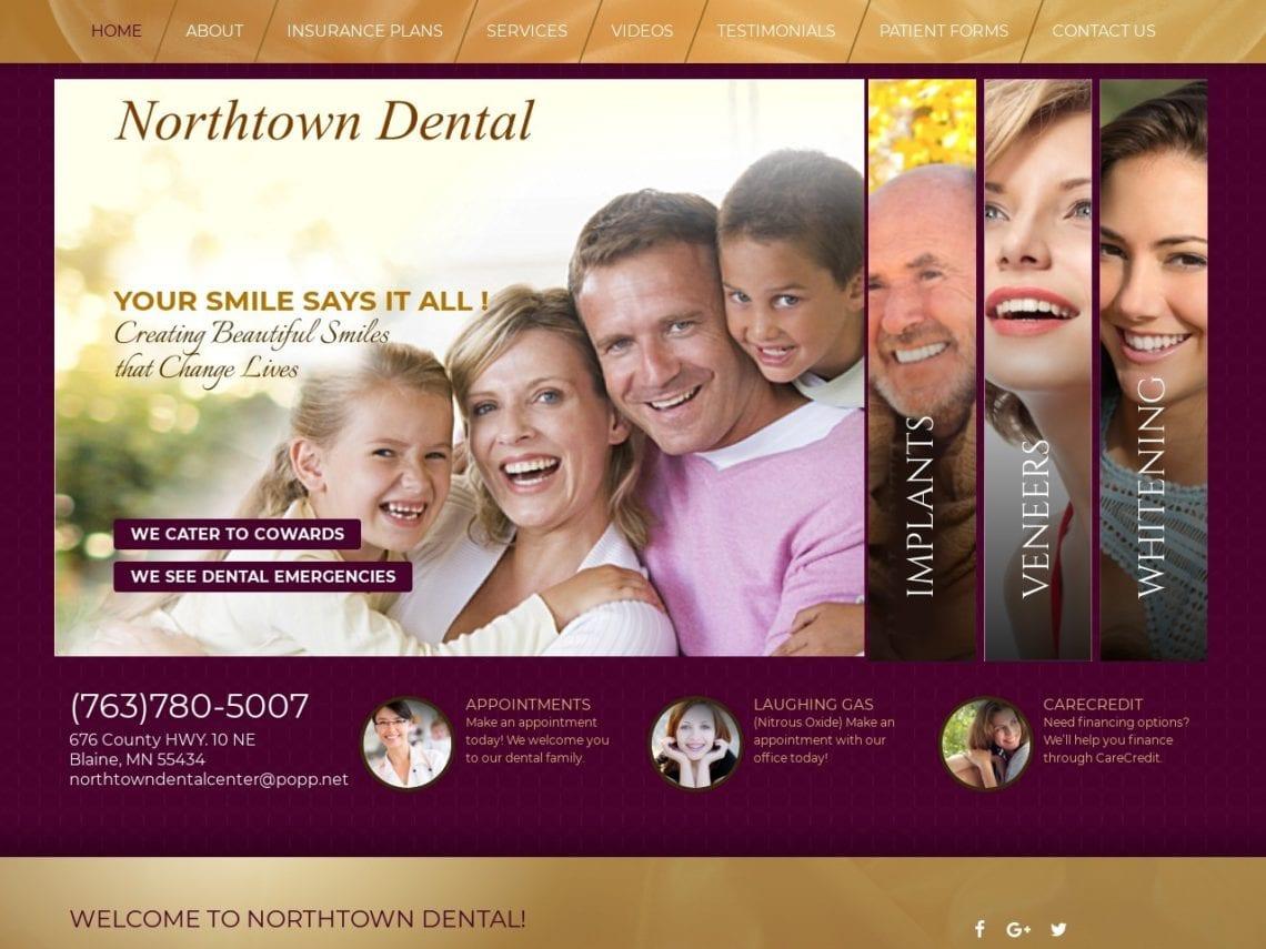 Northtown Dental Website Screenshot from url northtowndental.com