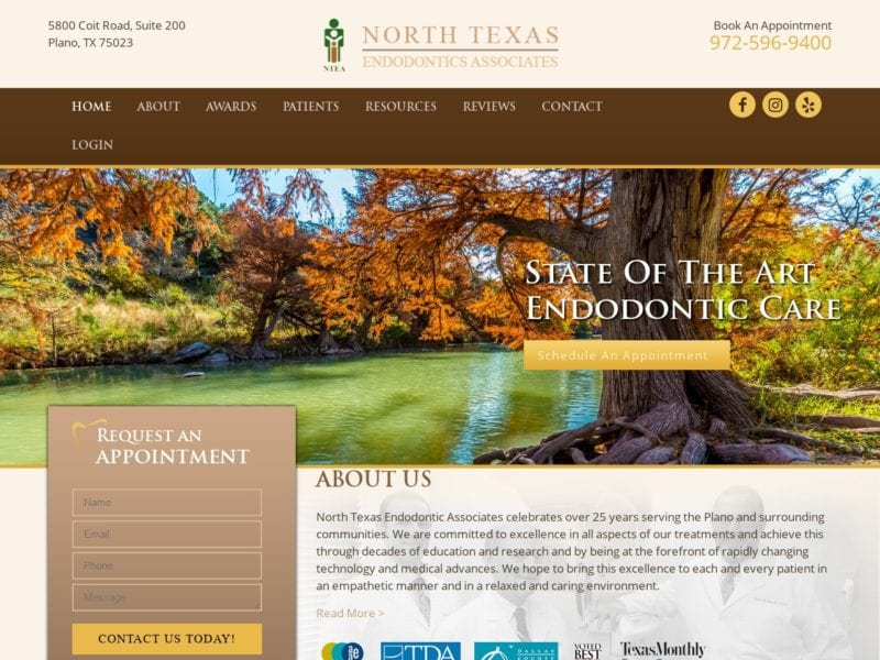 North Texas Endodontic Associates Website Screenshot from url ntendo.com