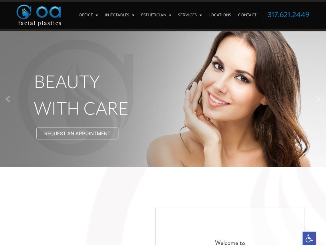 Indianapolis Cosmetic Surgery Website Screenshot from url oafacialplastics.com