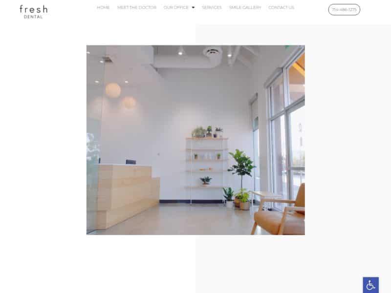 Santa Ana Fresh Dental Website Screenshot from url ocfreshdental.com