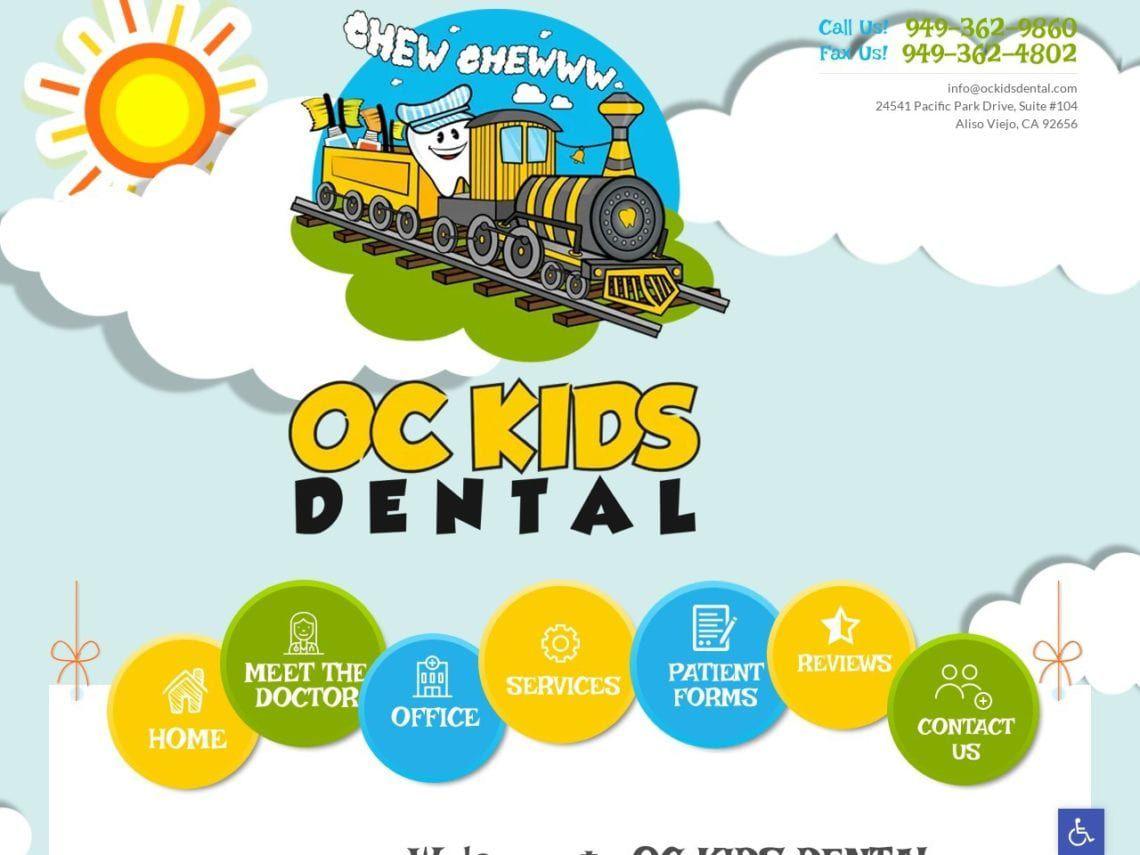 OC Kids Dental Website Screenshot from url ockidsdental.com