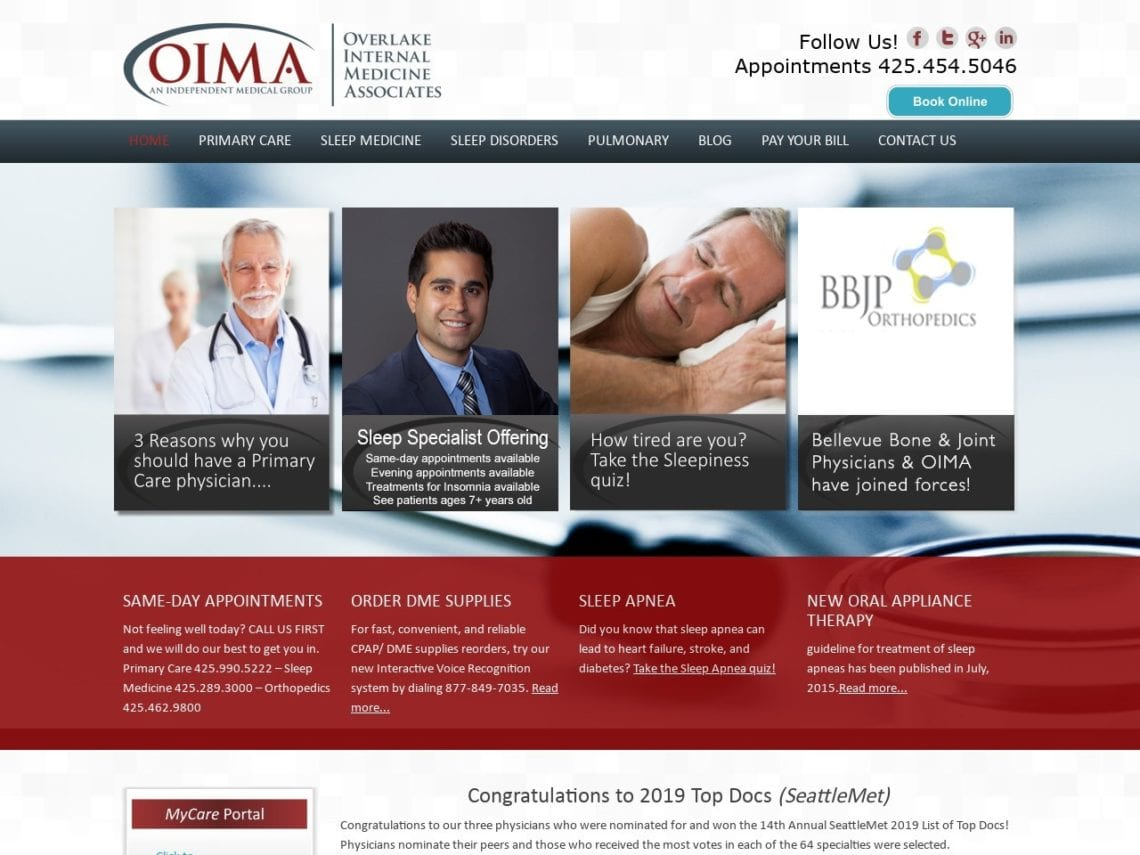 Overlake Internal Medicine Website Screenshot from url oima.org