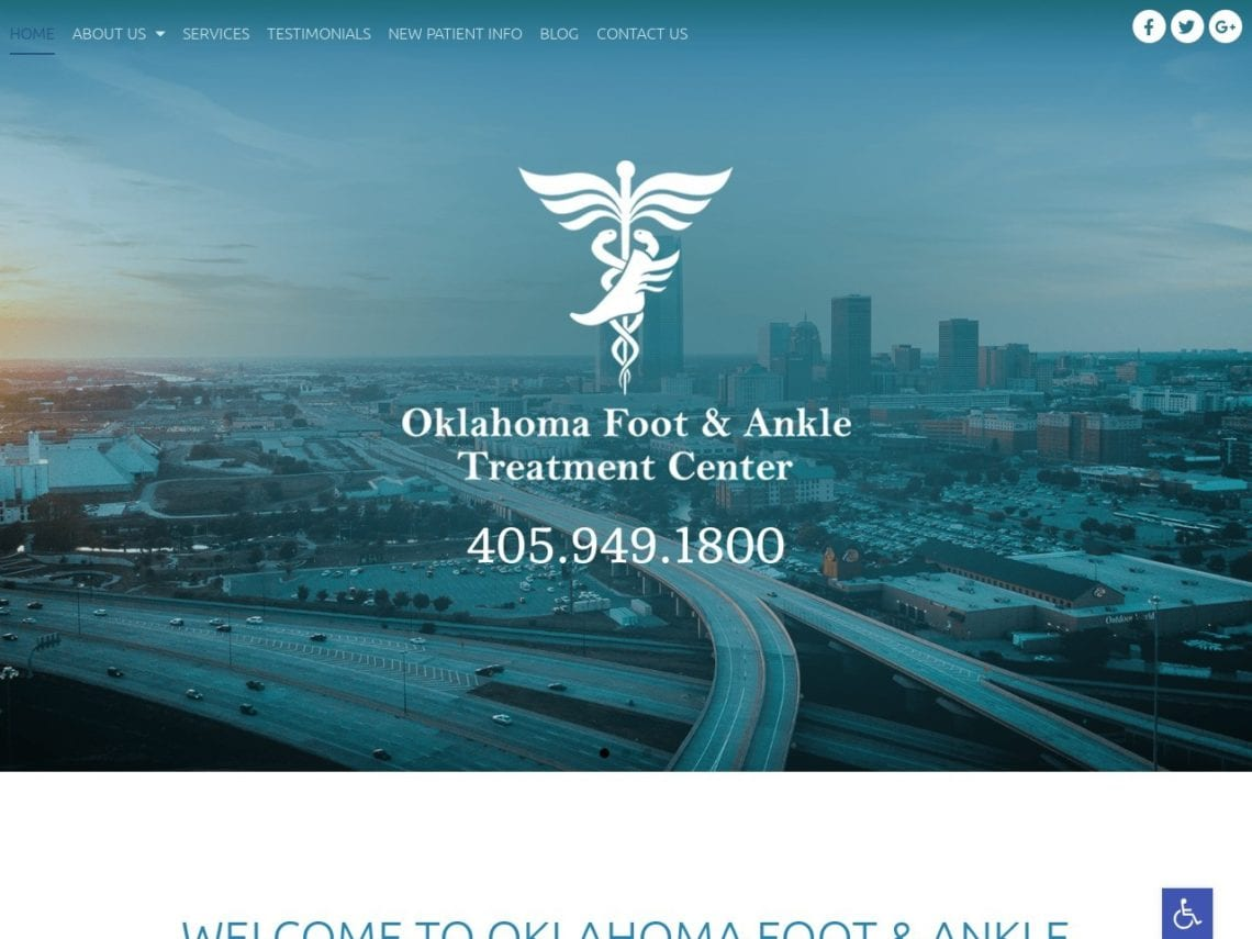 Oklahoma City Podiatry Website Screenshot from url okfootankle.com