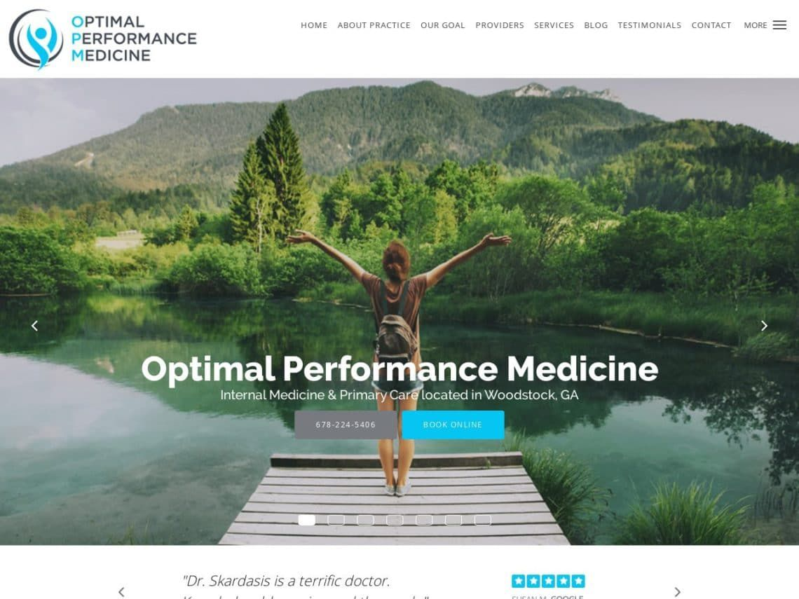 Woodstock Primary Care Website Screenshot from url optimalperformancemedicine.com
