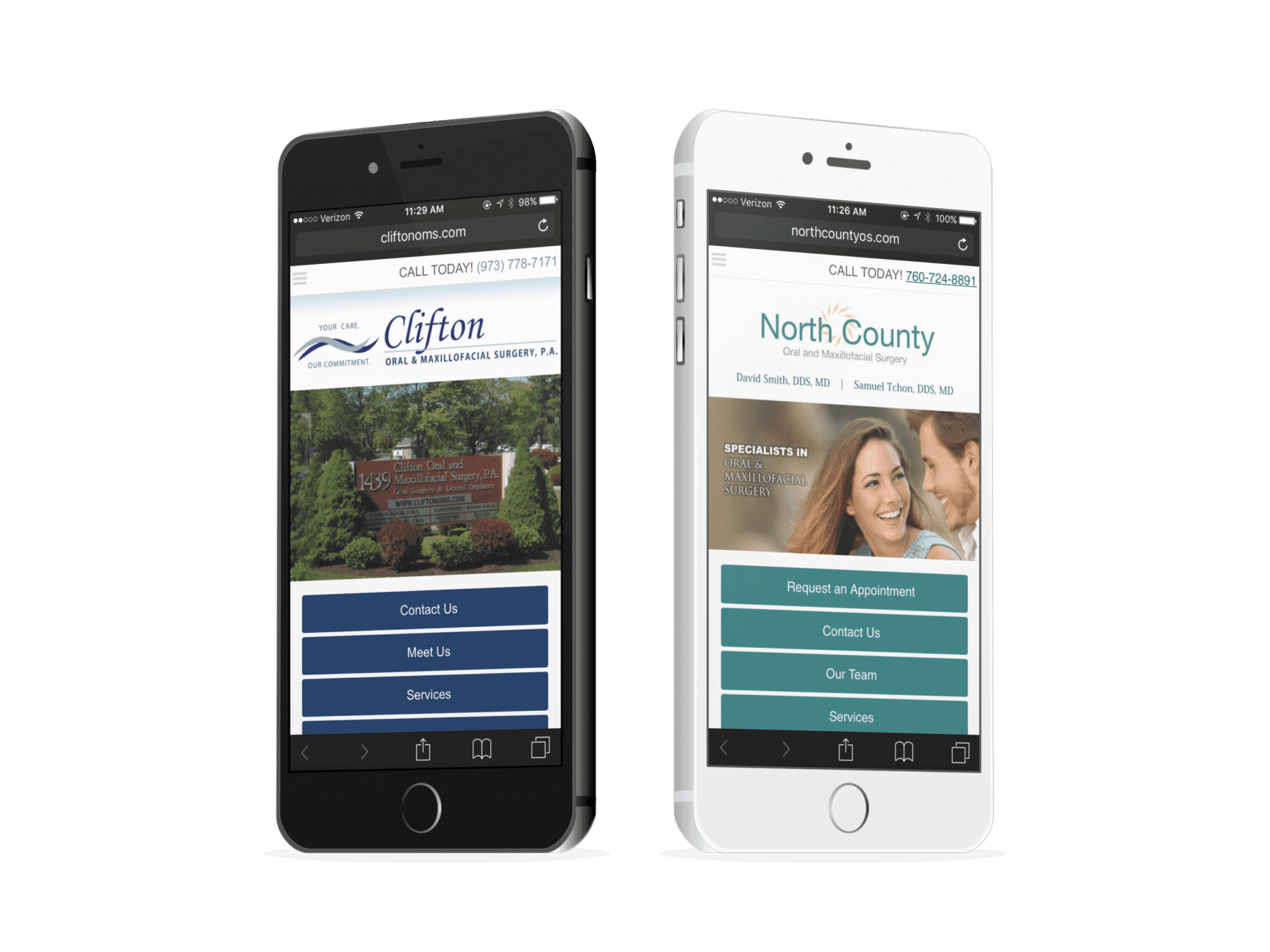 Oral Surgery Mobile Websites On Two Phones