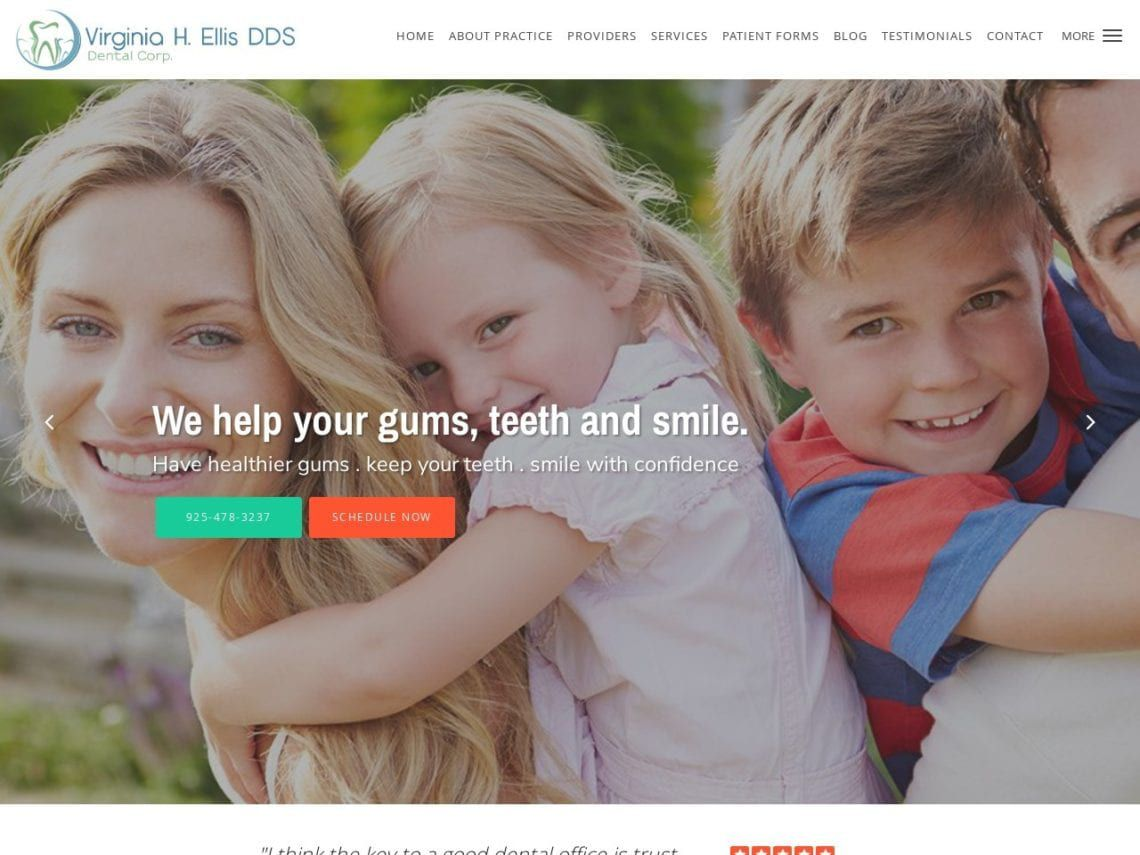 Virginia H. Ellis DDS Website Screenshot from url orindadentist.com