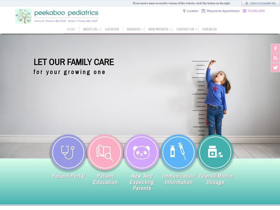 Peekaboo Pediatrics Website Screenshot from url peekaboopediatrics.com