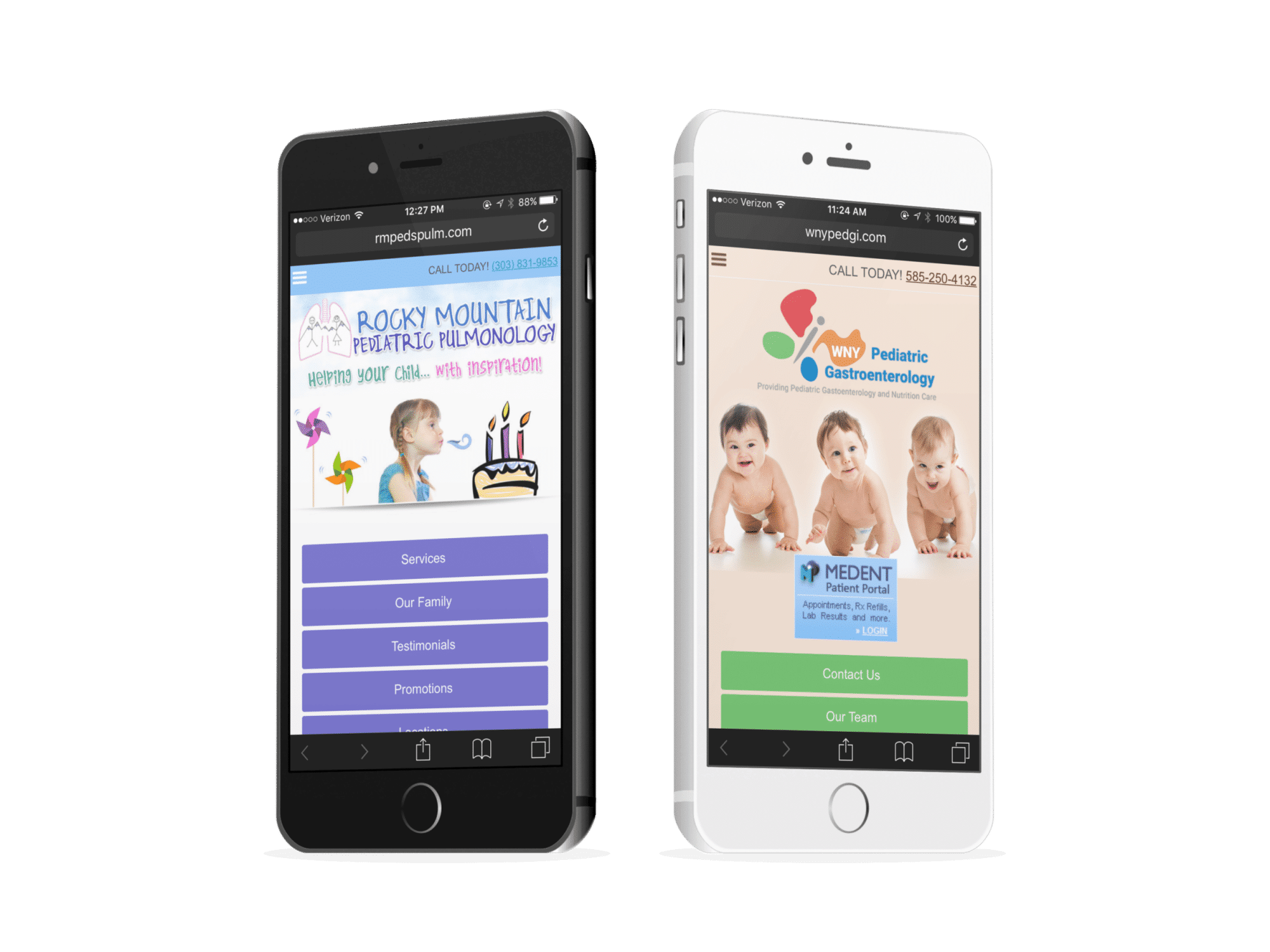 Perdiatrician Mobile Websites Of Two Pediatrics Practice With Kids Images On Them
