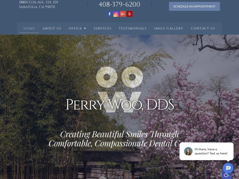 Saratoga General Dentistry Website Screenshot from url perrywoodds.com