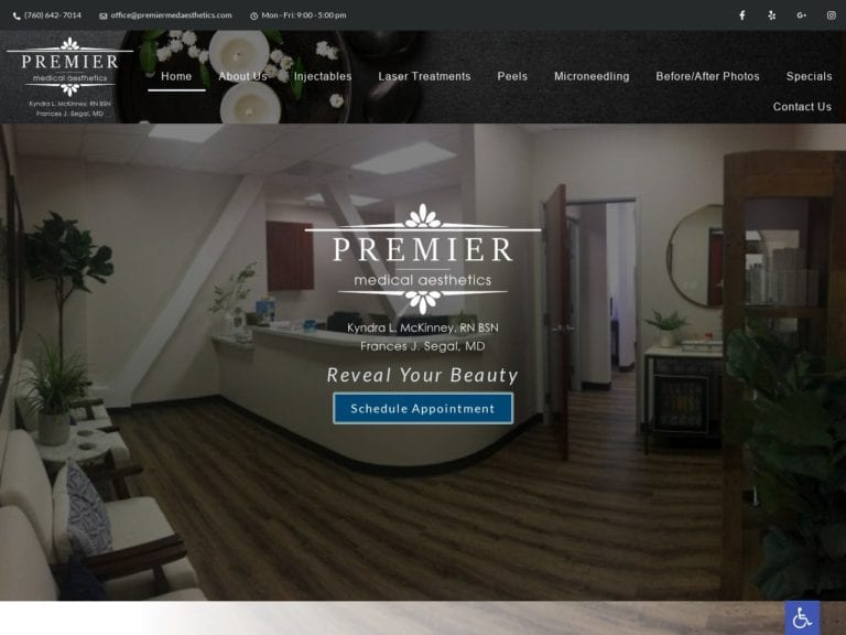 Premier Medical Aesthetics Website Screenshot from url premiermedaesthetics.com