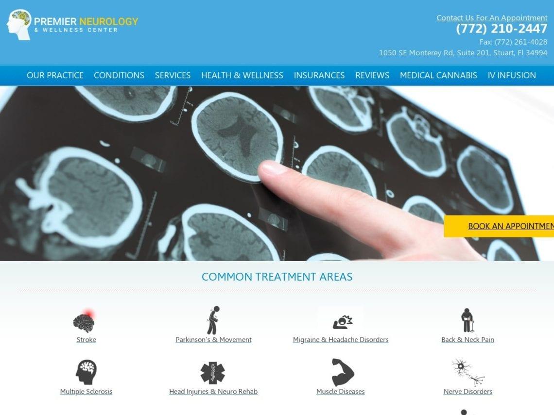 Premier Neurology & Wellness Center Website Screenshot from url premierneurologycenter.com