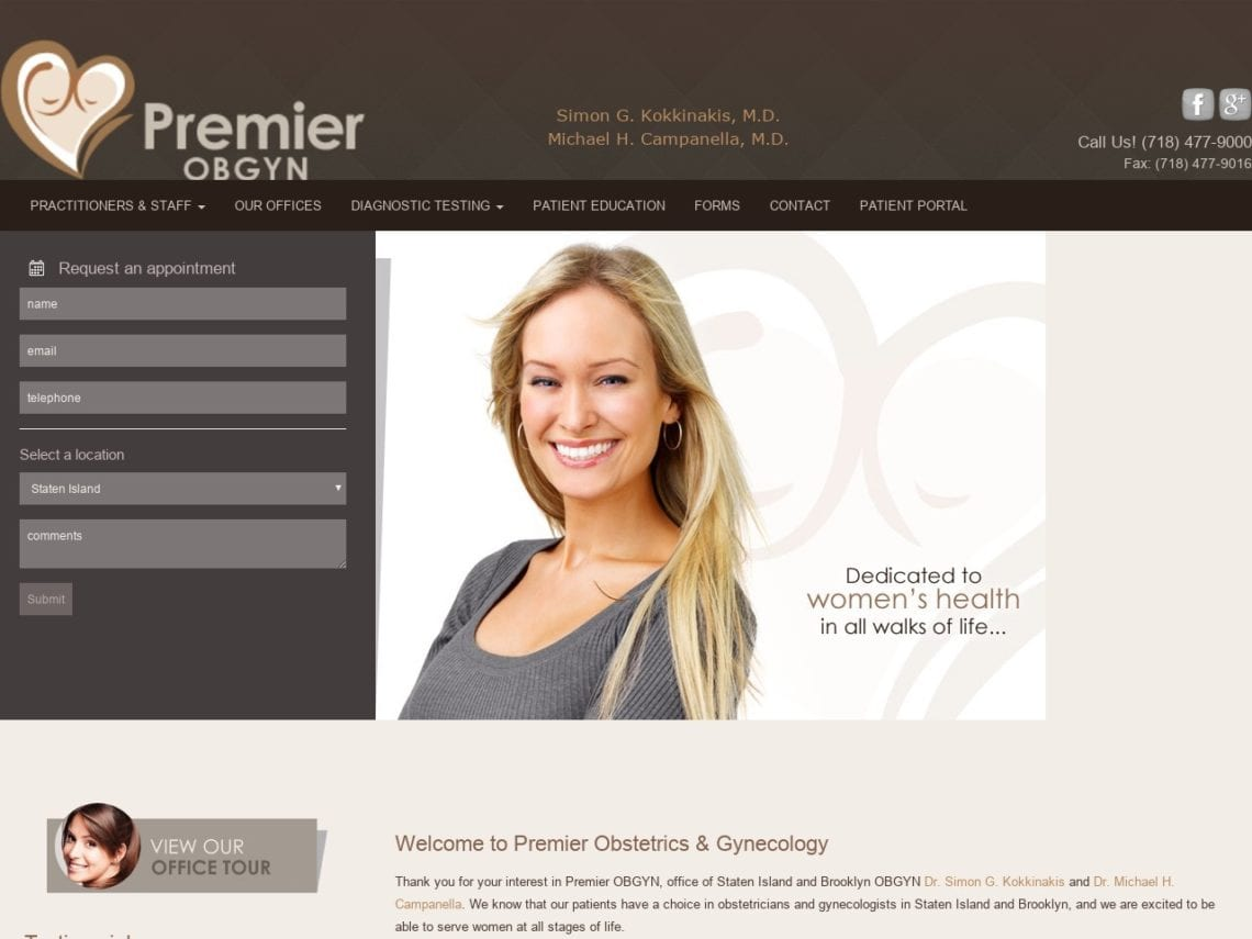 Premier OBGYN Website Screenshot from url premierobgynsi.com