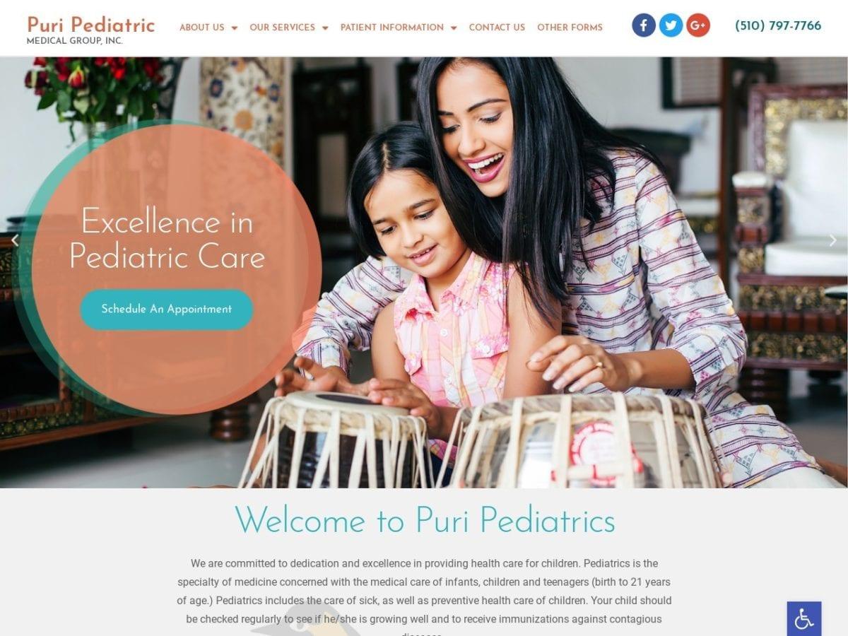 Puri Pediatric Medical Group Website Screenshot from url puripeds.com