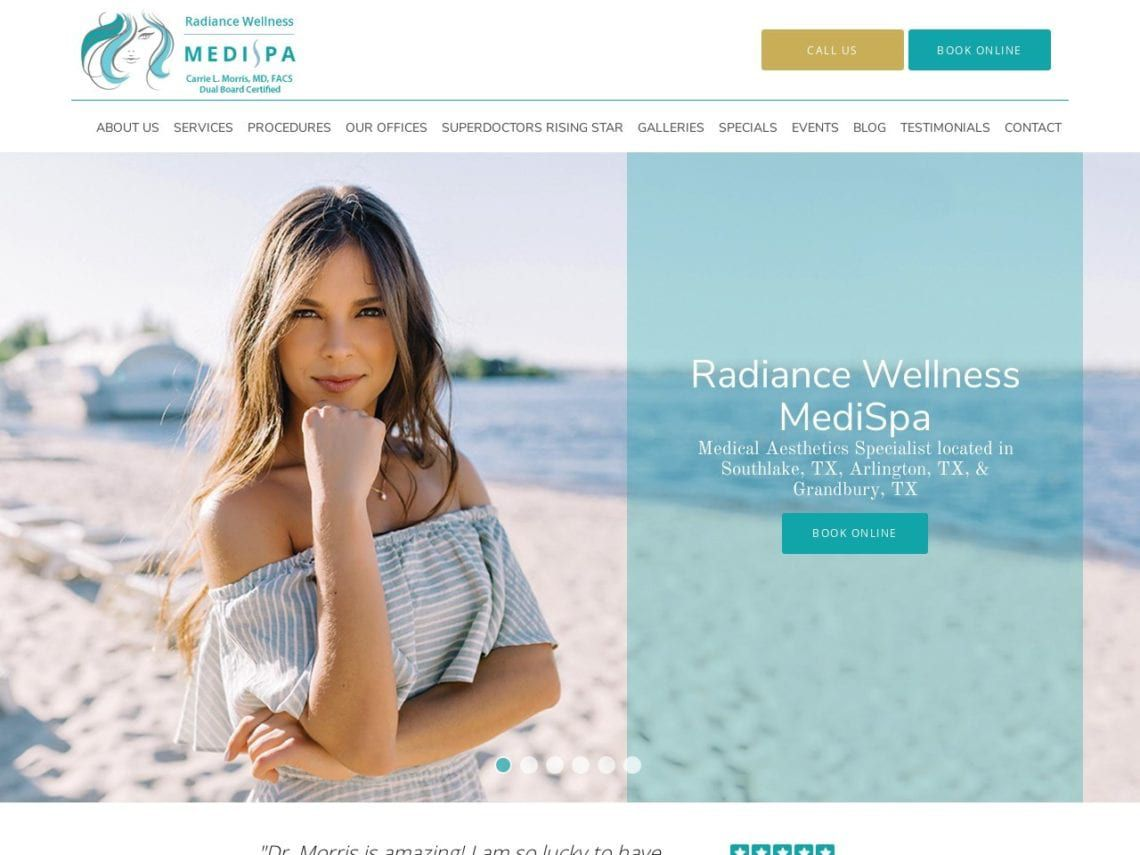 Radiance Wellness Medi Spa Website Screenshot from url radiancewellnessmedispa.com
