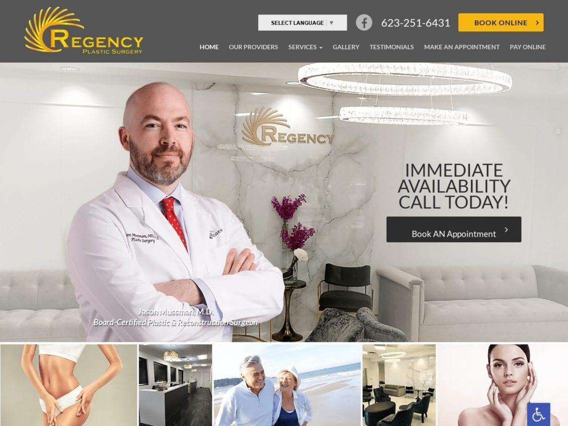 Regency Plastic Surgery Website Screenshot from url regency-plasticsurgery.com