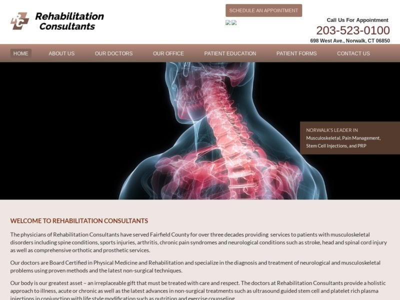 Rehabilitation Consultants Website Screenshot from url rehabmdconsultants.com