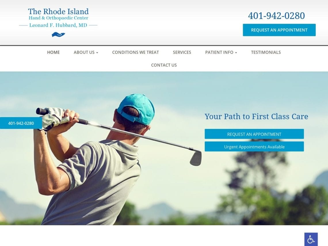 Rhode Island Hand Website Screenshot from url rihandcenter.com