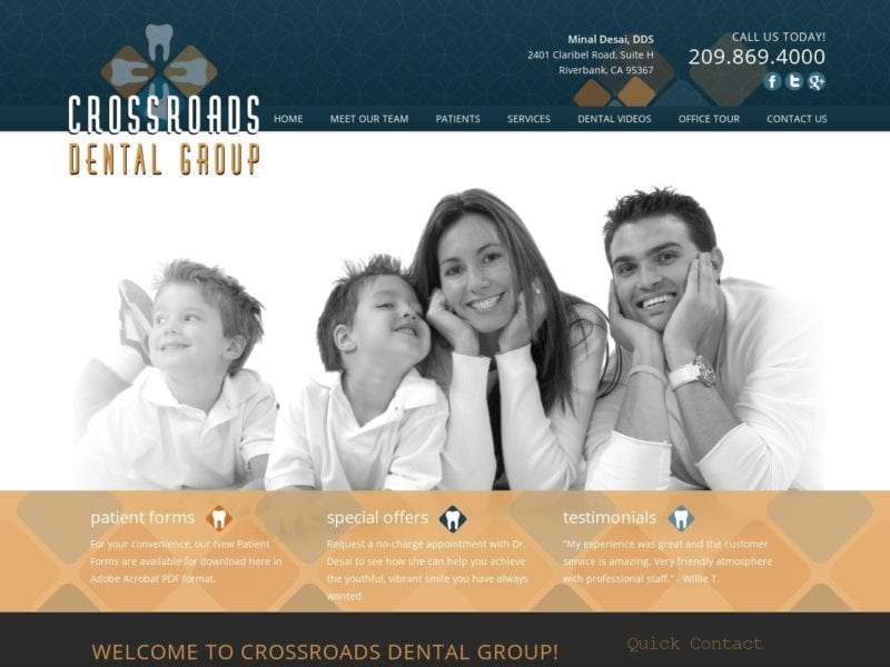 Crossroads Dental Group Website Screenshot from url riverbankdentist.com