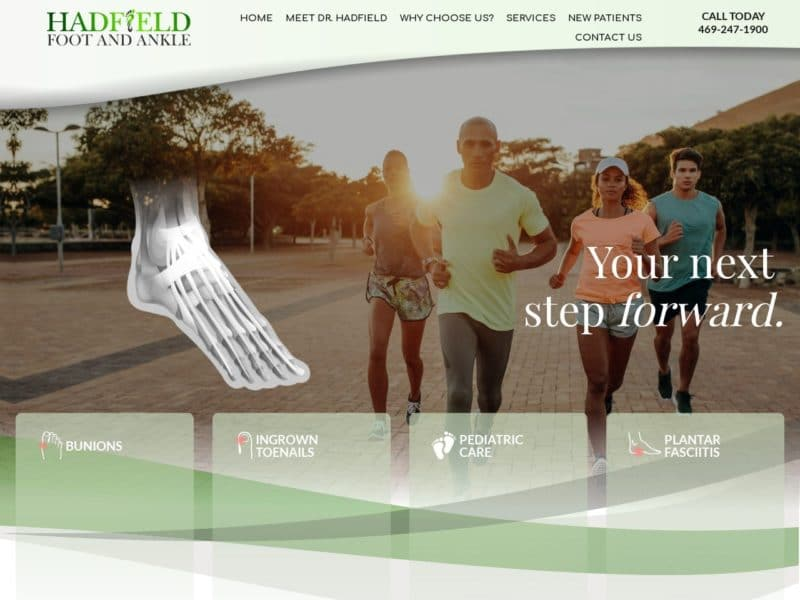 Hadfield Foot and Ankle Website Screenshot from url roberthadfield.com