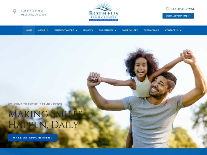 Rothfus Family Dentistry Website Screenshot from url rothfusfamilydental.com