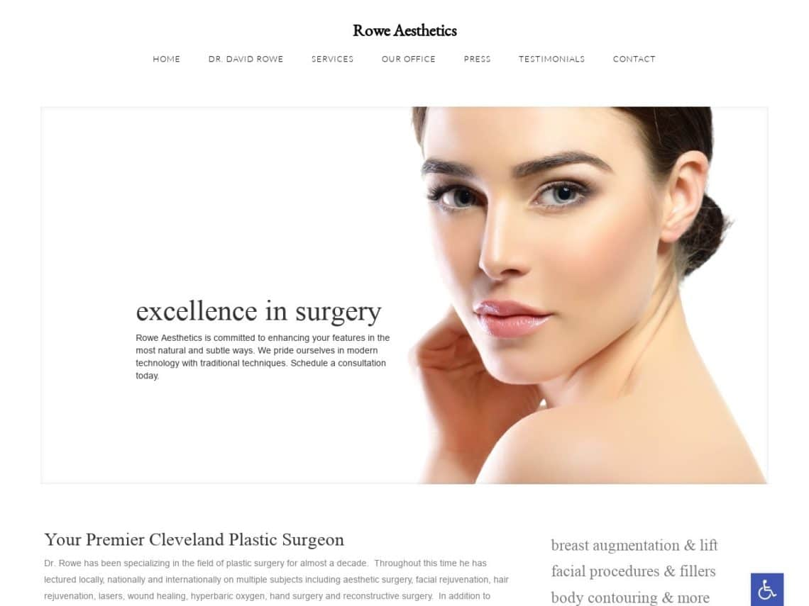 Rowe Aesthetics Website Screenshot from url roweaesthetics.com