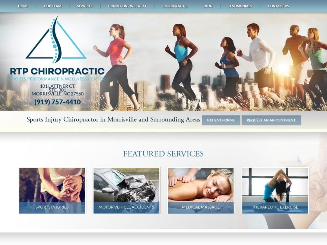 RTP Chiropractic Website Screenshot from url rtpchiropractic.com