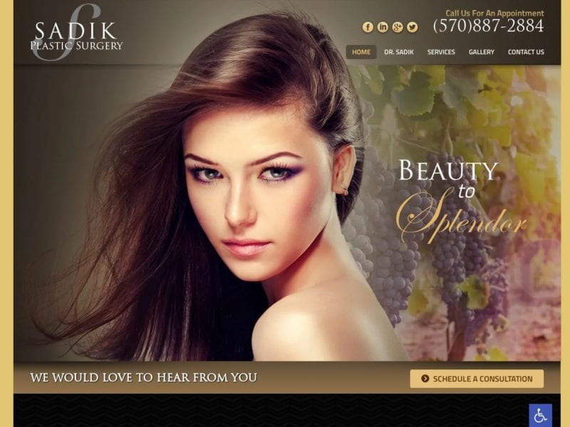 Sadik Plastic Surgery Website Screenshot from url sadikplasticsurgery.com