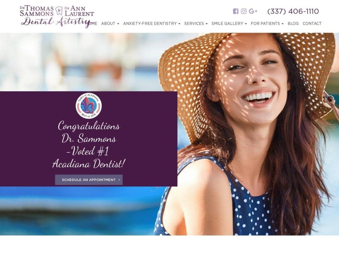 Laurent Dental Artistry Website Screenshot from url sammonsdds.com