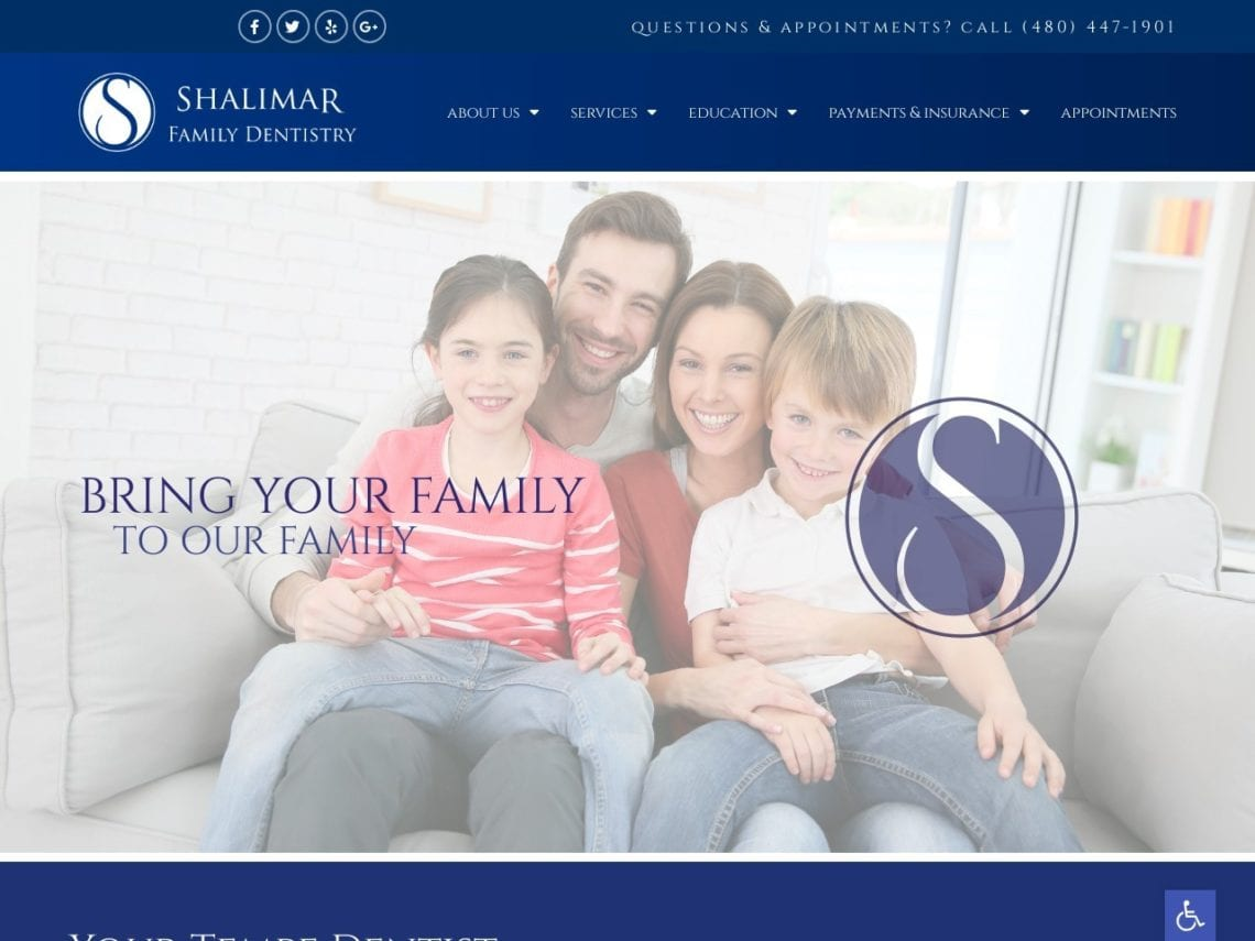 Shalimar Family Dentistry Website Screenshot from url shalimarfamilydentistry.com