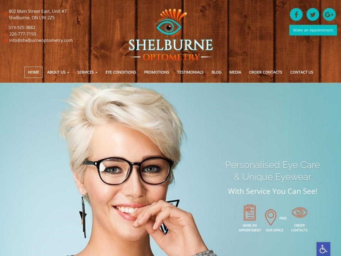 Shelbourne Optometry Website Screenshot from url shelburneoptometry.com