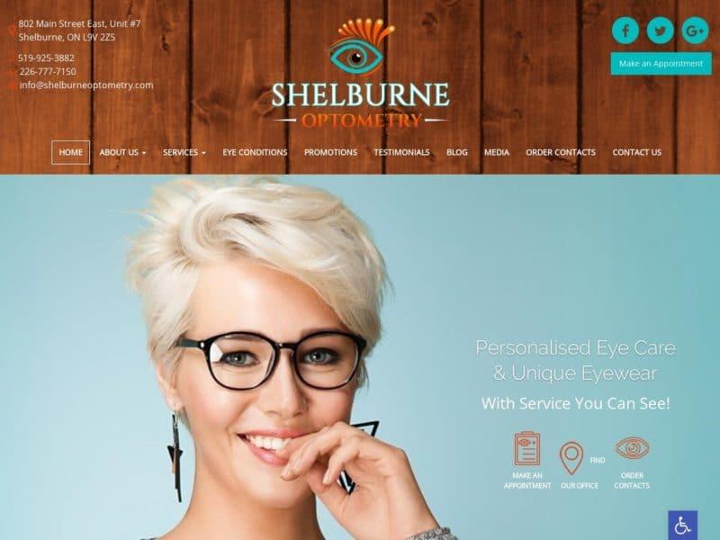 Shelbourne Optometry Website Screenshot from url shelburneoptometry.com