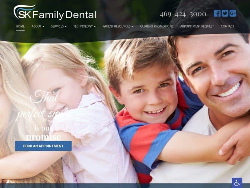 SK Family Dental Website Screenshot from url skfamilydentaltx.com