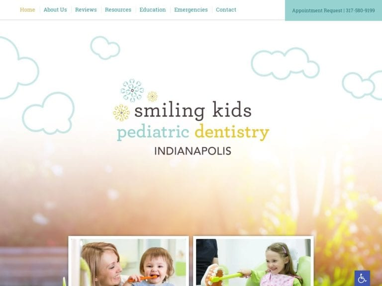 Smiling Kids Pediatric Dentistry Website Screenshot from url smilingkidsindy.com