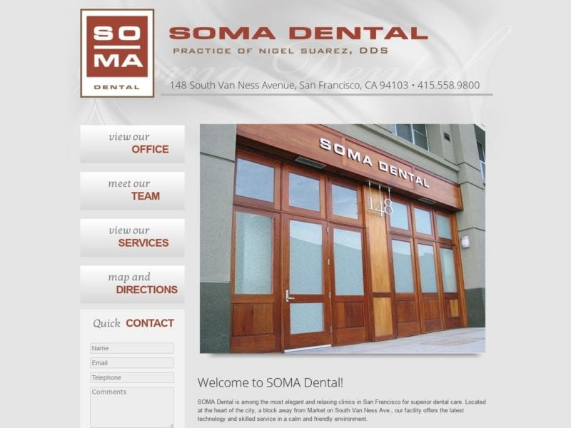 Soma Dental Website Screenshot from url somadental.com