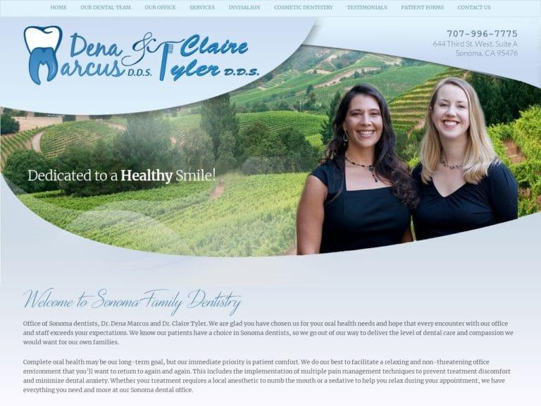 Sonoma Family Dentistry Website Screenshot from url sonomafamilydentist.com